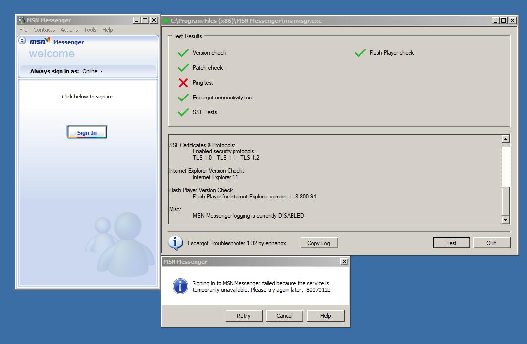 Problem with logging in on MSN Messenger (Windows 7