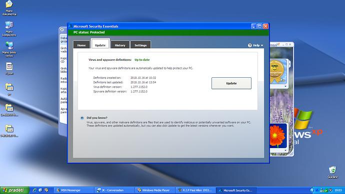 Microsoft Security Essentials STILL updates on Windows XP