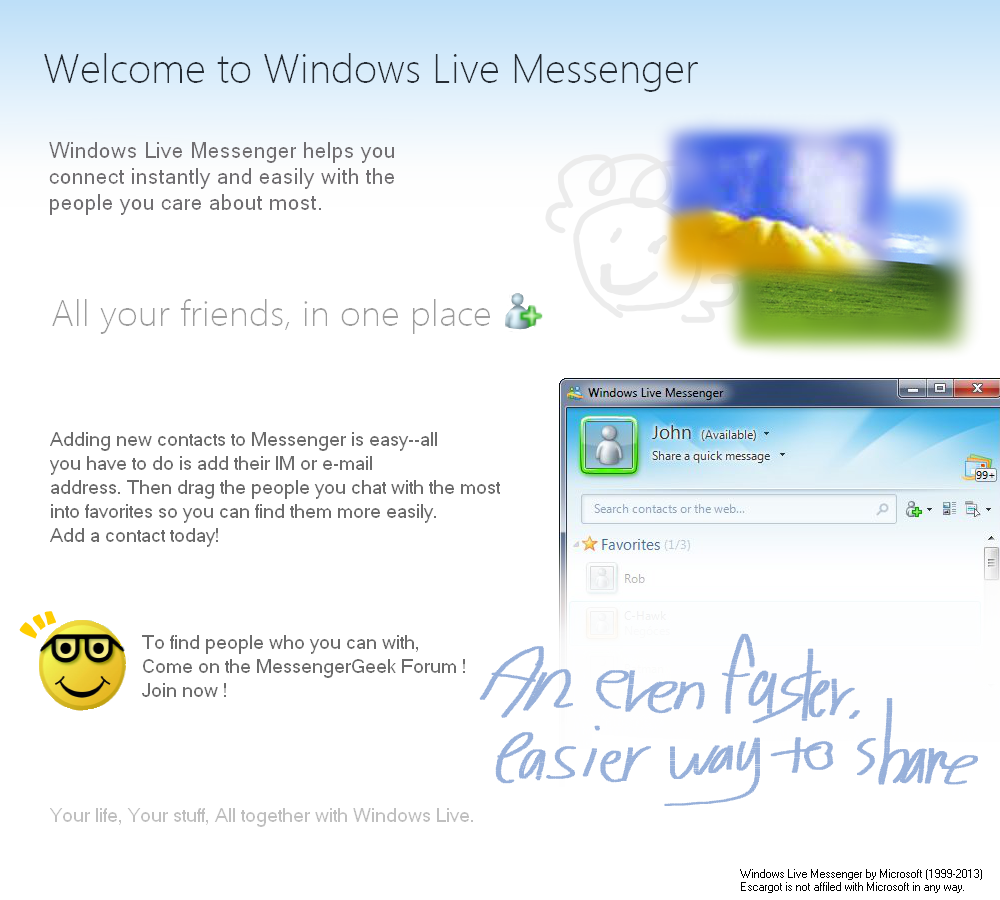 Welcome Window of Windows Live Messenger remade - Concepts and