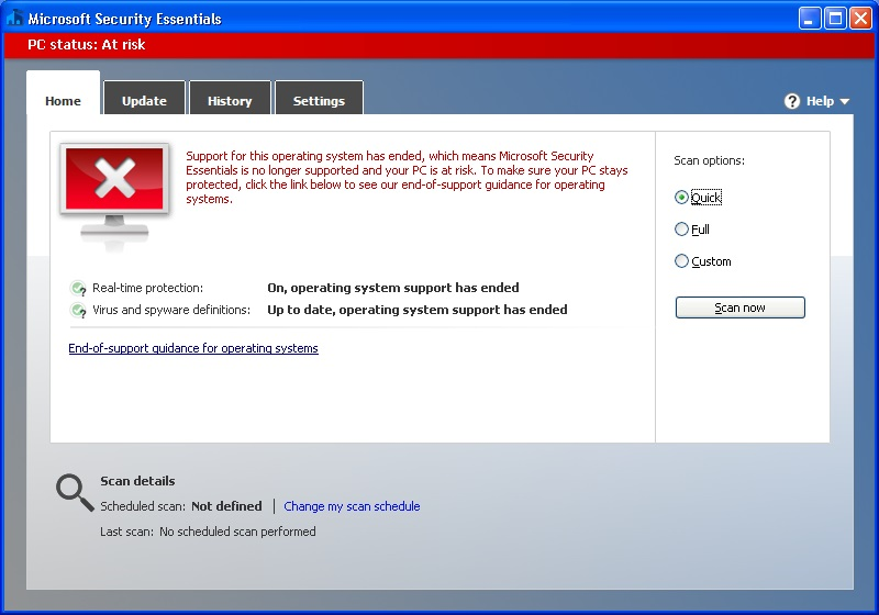 windows xp microsoft security essentials not updating