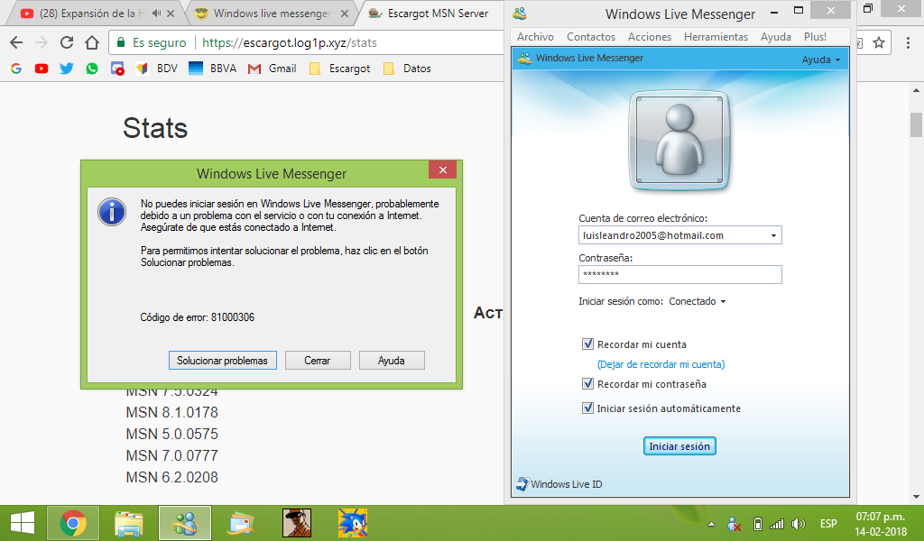 Windows live messenger 2008 does not want to connect - Messenger