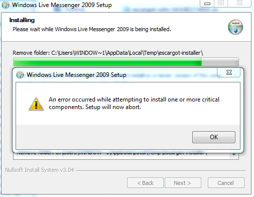 i download wlm 2009 from escargot but i see the error