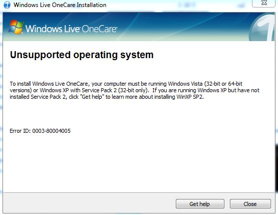 how do i fix this Windows live Onecare